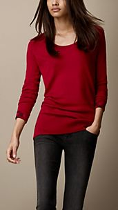 Check Cuff Cotton Cashmere Sweater