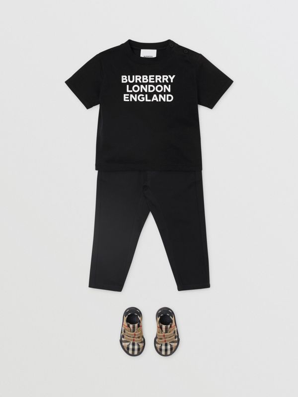 Logo Print Cotton T-shirt in Black - Children | Burberry - cell image 3