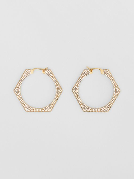 Crystal Detail Gold-plated Nut Hoop Earrings in Light Gold/crystal