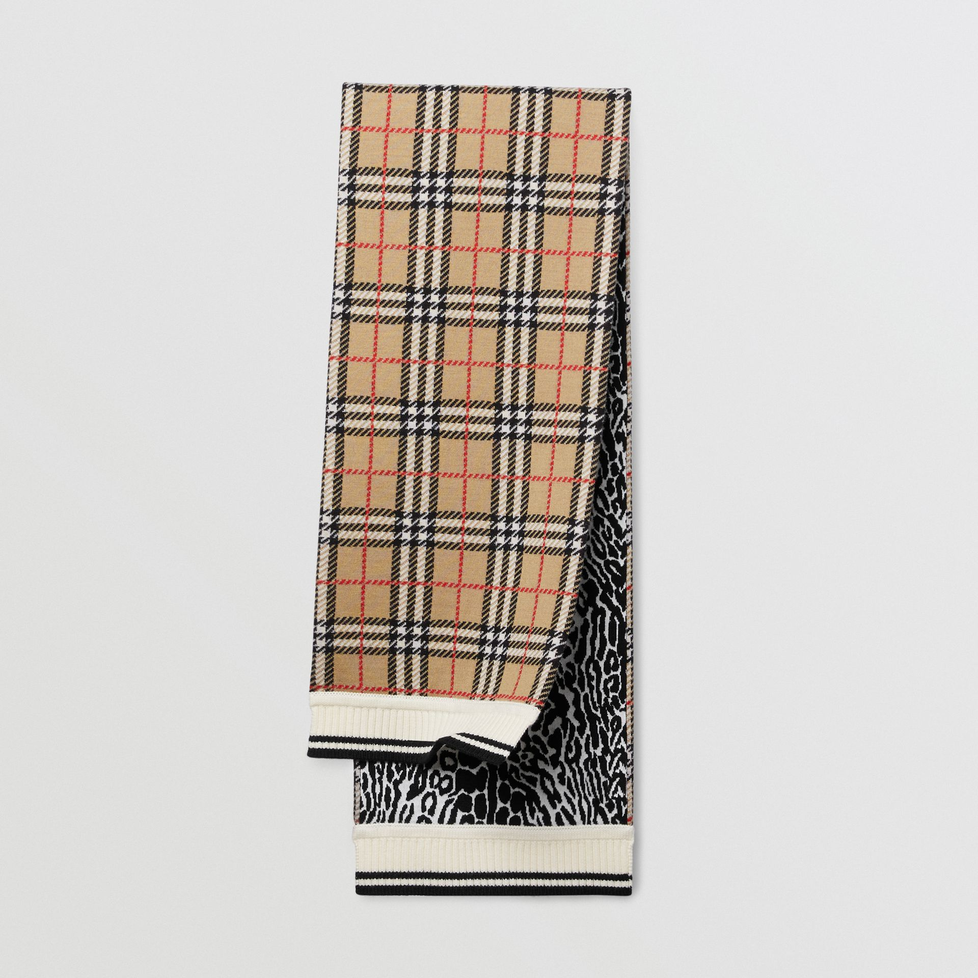 Check and Leopard Merino Wool Jacquard Scarf in Print - Children | Burberry United States - gallery image 0