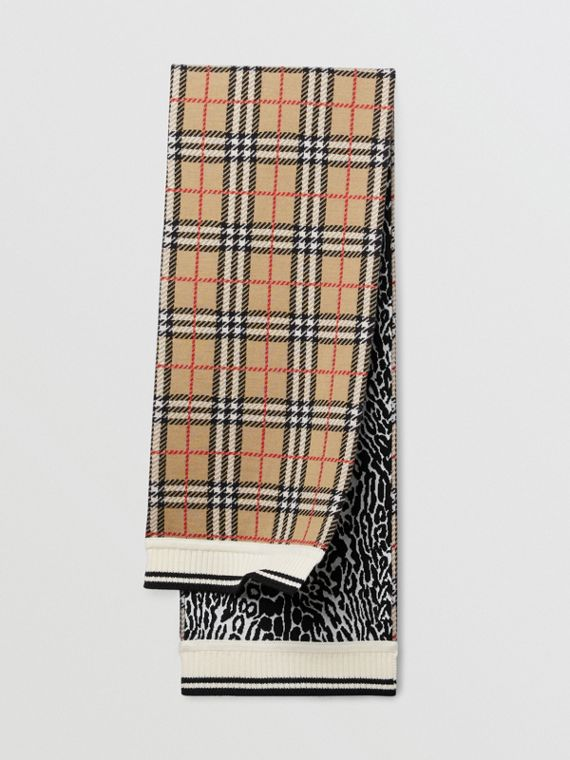 Check and Leopard Merino Wool Jacquard Scarf in Print