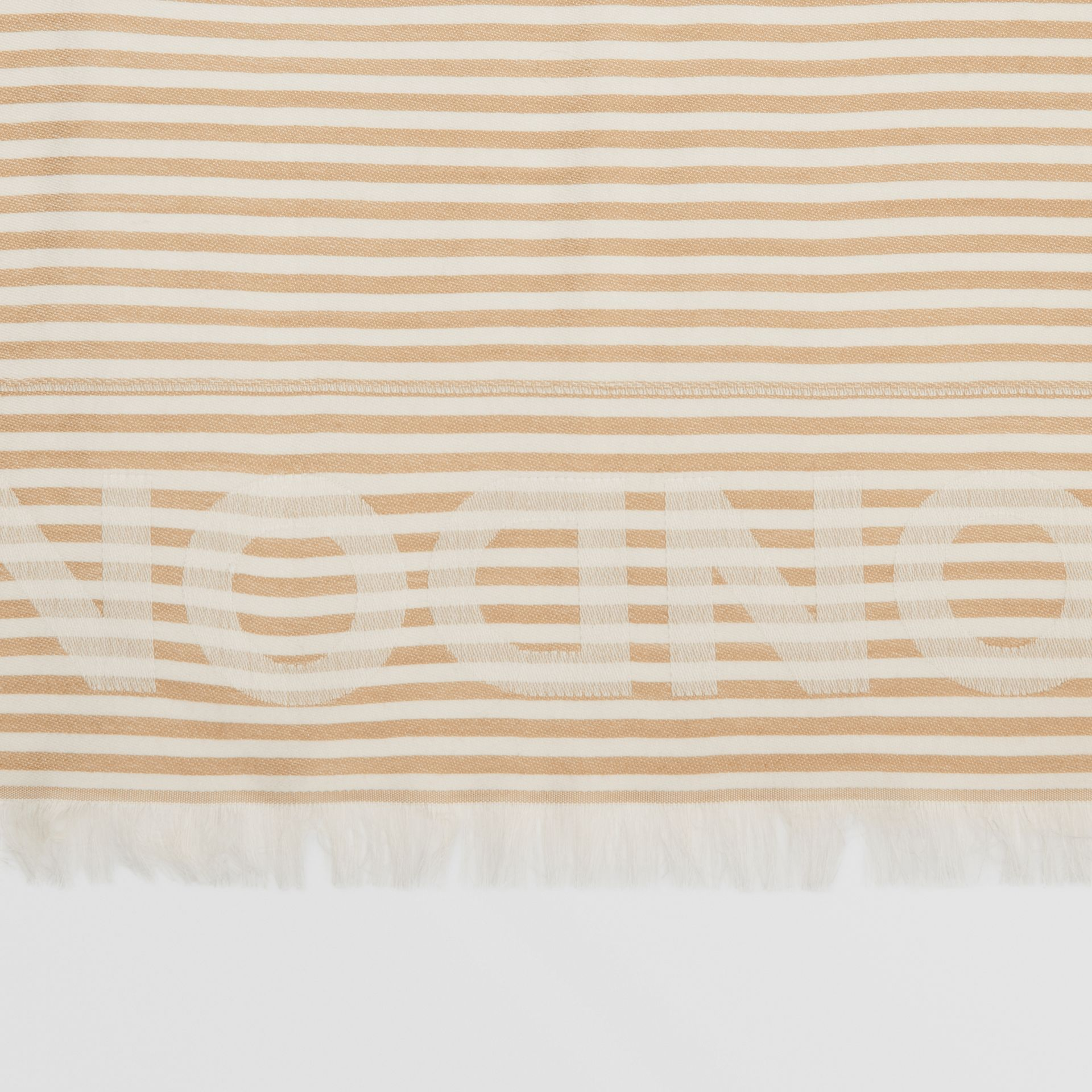Striped Logo Silk Wool Jacquard Large Square Scarf in Archive Beige   Burberry - gallery image 1