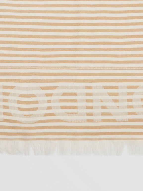 Striped Logo Silk Wool Jacquard Large Square Scarf in Archive Beige   Burberry - cell image 1