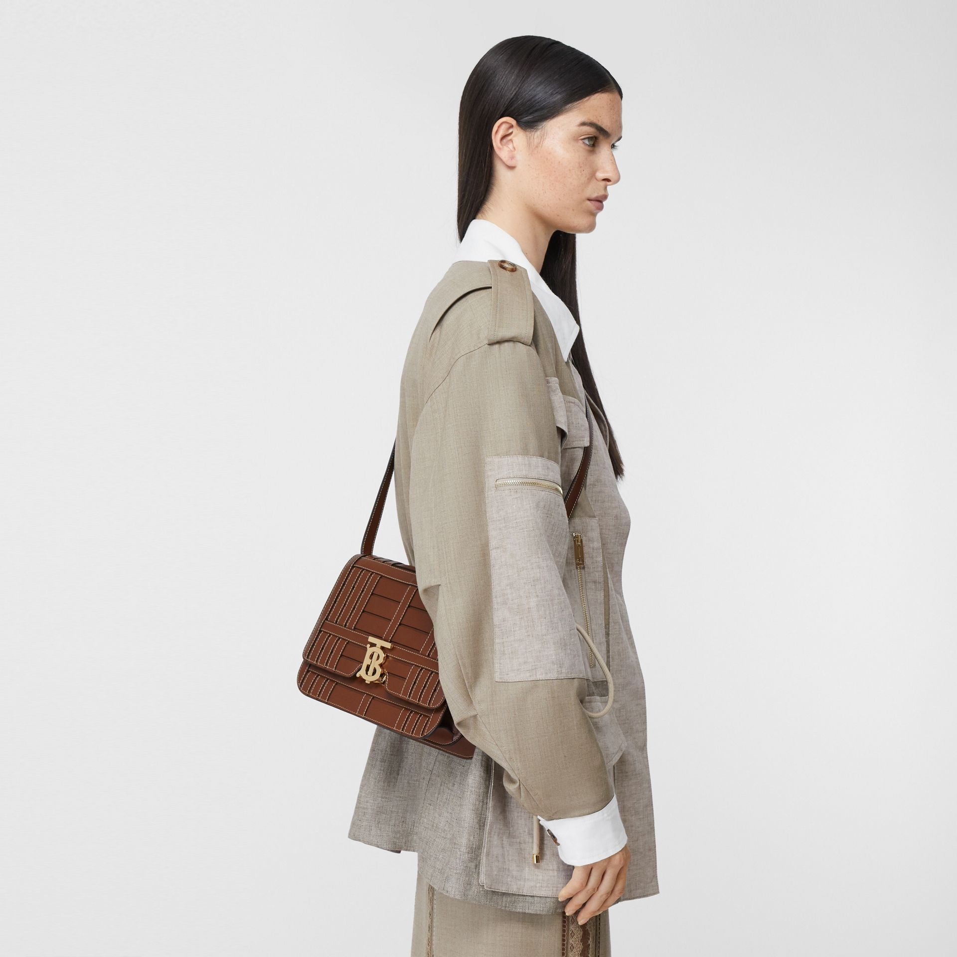 Medium Woven Leather TB Bag in Tan - Women | Burberry - gallery image 2