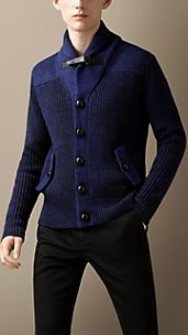 Fisherman Rib Shawl Collar Cardigan
