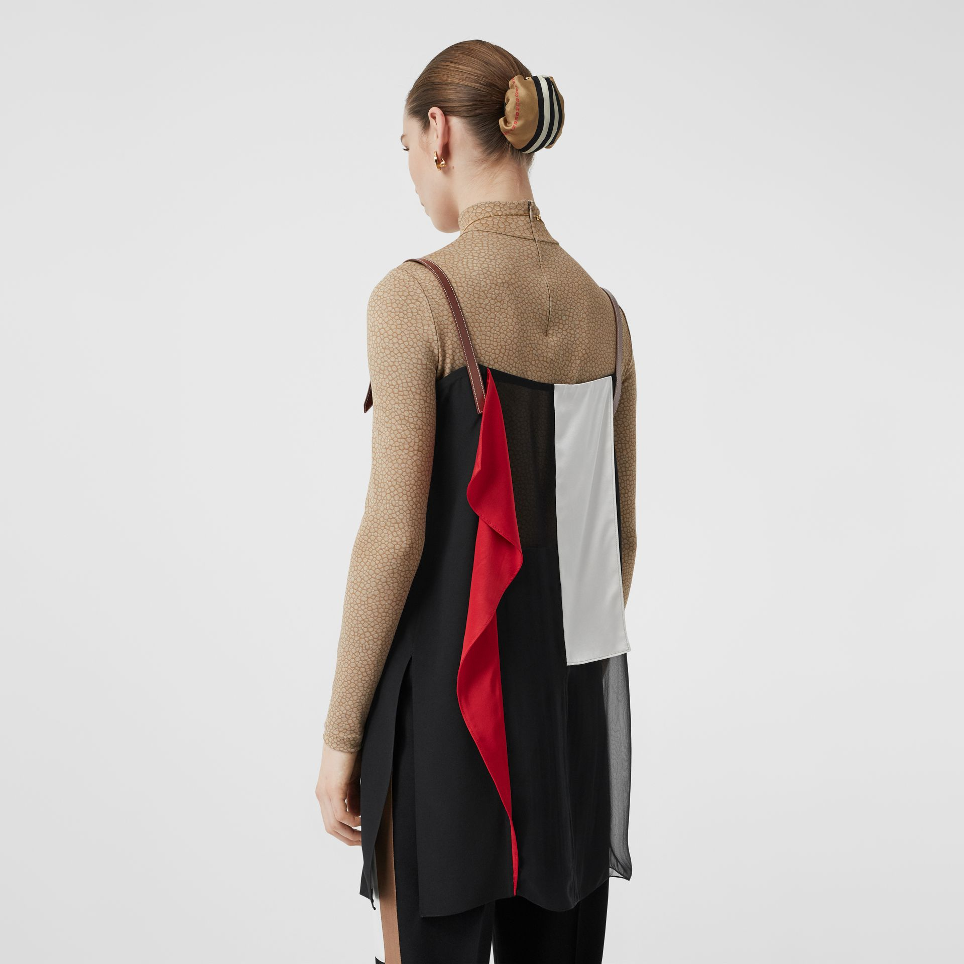 Leather Detail Colour Block Silk Top in Black - Women | Burberry - gallery image 2
