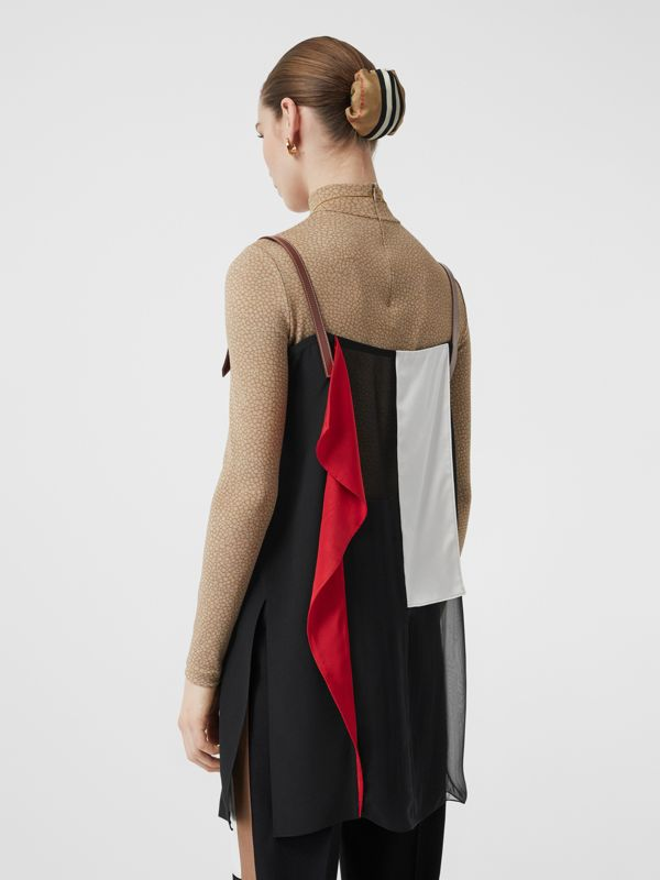Leather Detail Colour Block Silk Top in Black - Women | Burberry - cell image 2