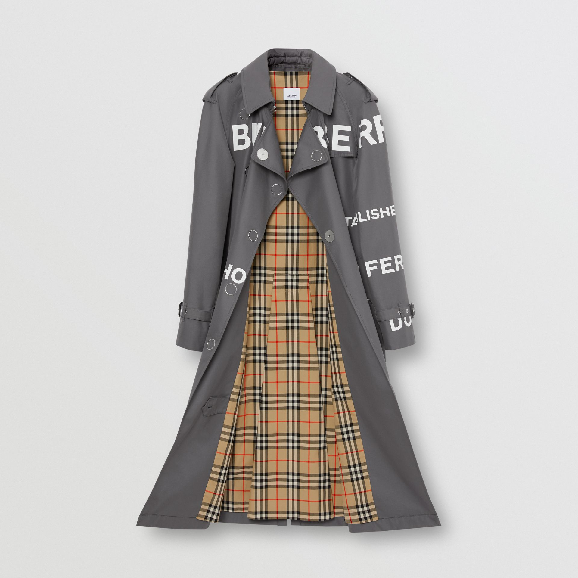 Horseferry Print Cotton Gabardine Trench Coat in Mid Grey - Women | Burberry United Kingdom - gallery image 7