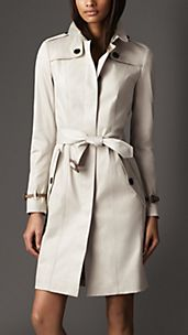Long Cotton Twill Nubuck Leather Detail Trench Coat