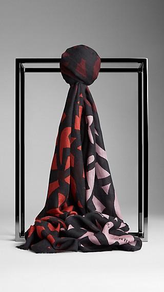 Graphic Leaf Print Cashmere Silk Scarf