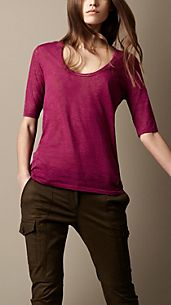 Cotton Blend Scoop Neck T-Shirt