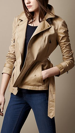 Cotton Twill Peplum Biker Jacket
