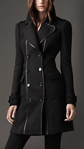 Leather Bound Wool Coat