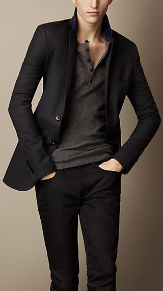 Oxford Jacket With Velvet Collar