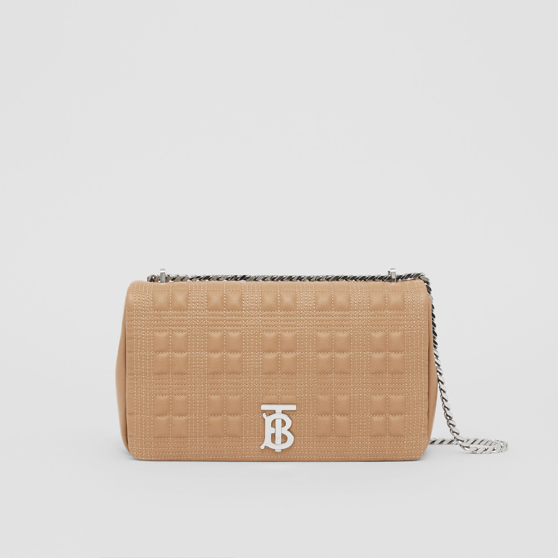 Medium Quilted Grainy Leather Lola Bag in Camel/palladium - Women | Burberry - gallery image 0
