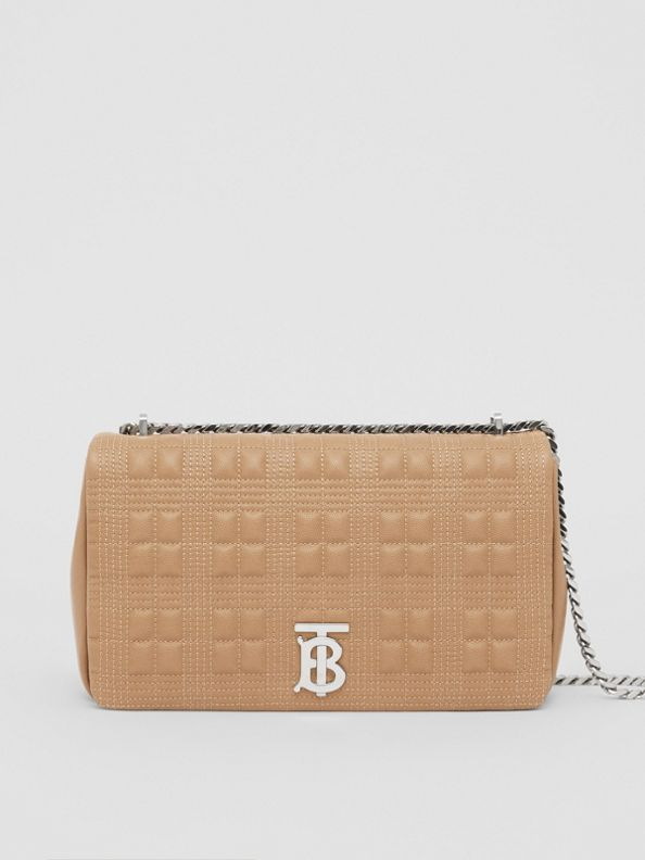Medium Quilted Grainy Leather Lola Bag in Camel/palladium