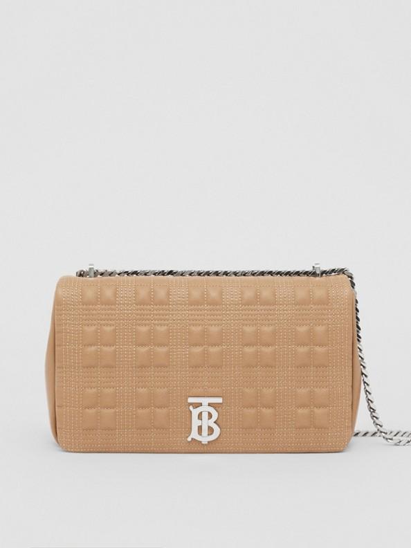 Bolsa Lola acolchoada em couro granulado - Média (Camel/paládio)