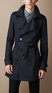 Trench-coat mi-long en coton avec bordure en cuir