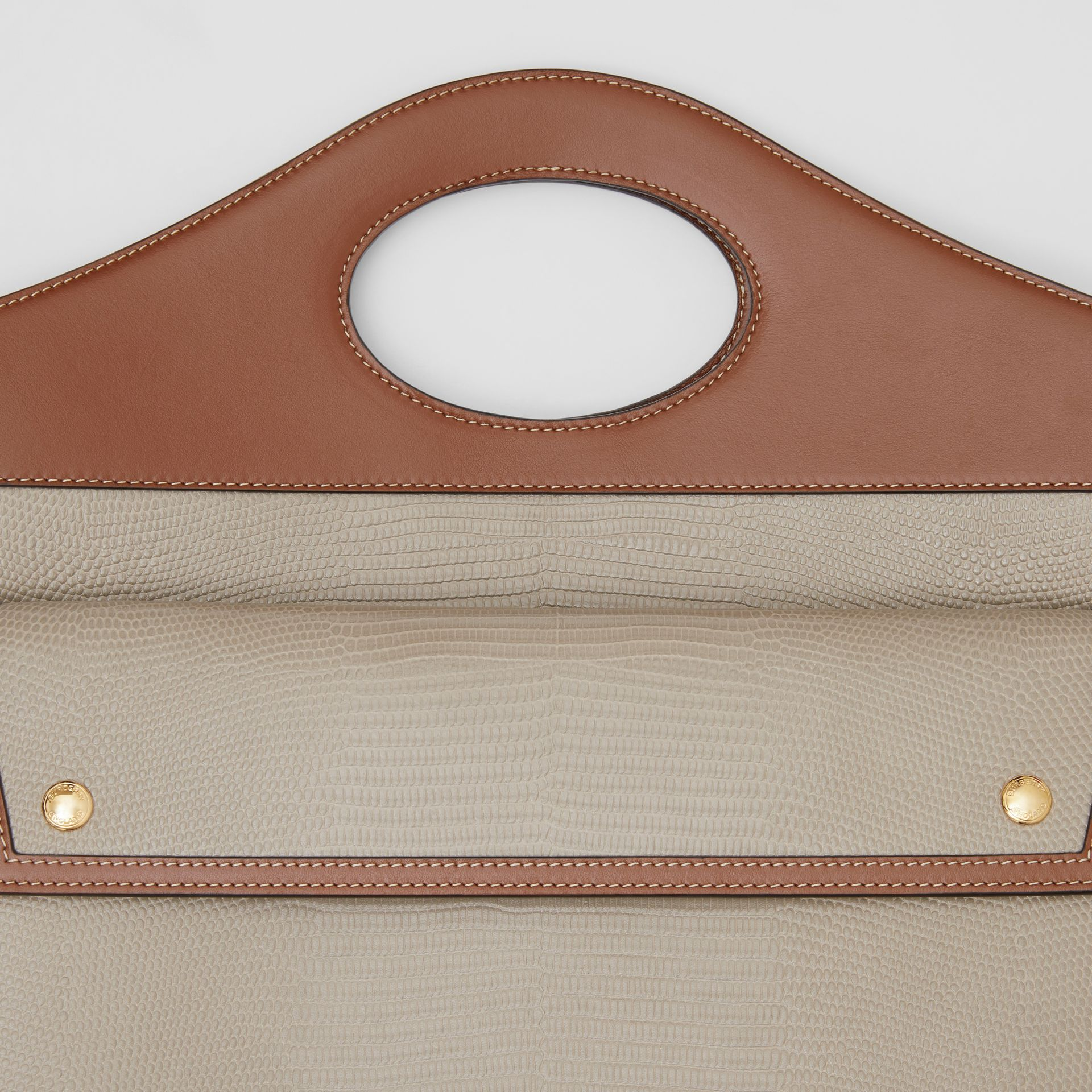 Medium Embossed Deerskin and Leather Pocket Bag in Tan - Women | Burberry Singapore - gallery image 1