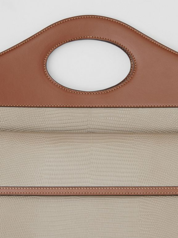 Medium Embossed Deerskin and Leather Pocket Bag in Tan - Women | Burberry Singapore - cell image 1