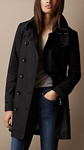 Trench-coat mi-long en popeline de coton à sous-gorge double