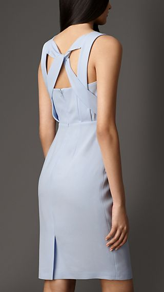 Satin-Backed Crepe Dress with Twist Detail