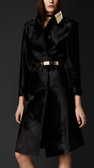 Glossy Calfskin Trench Coat