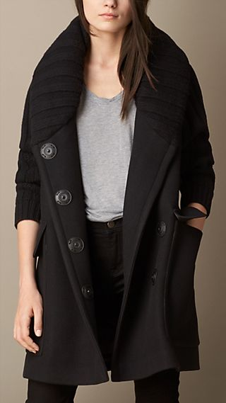 Oversize Contrast Fabric Coat