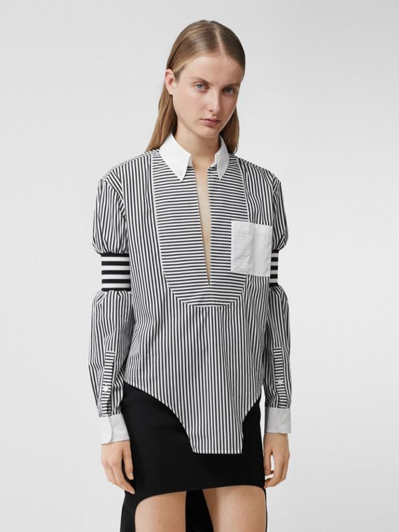 Cut-out Hem Striped Cotton Poplin Shirt in Black