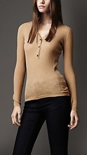 Ribbed Cotton-Rich Henley