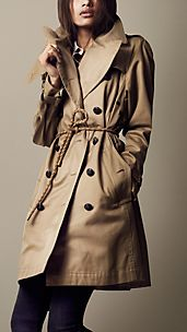 Long Heavy Cotton Twill Trench Coat