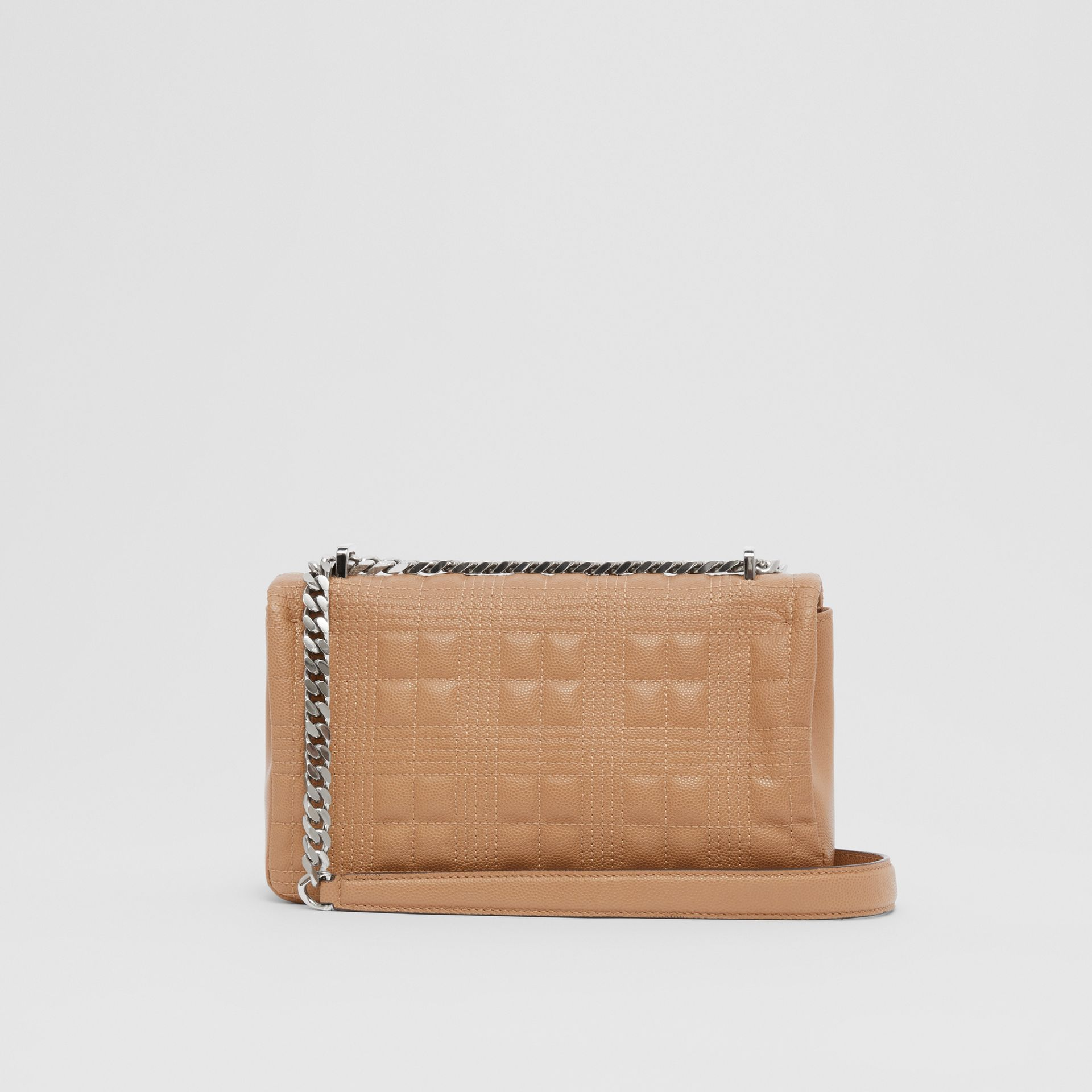 Small Quilted Grainy Leather Lola Bag in Camel/palladium | Burberry United Kingdom - gallery image 9