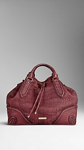 Large Framed Alligator Leather Tote Bag