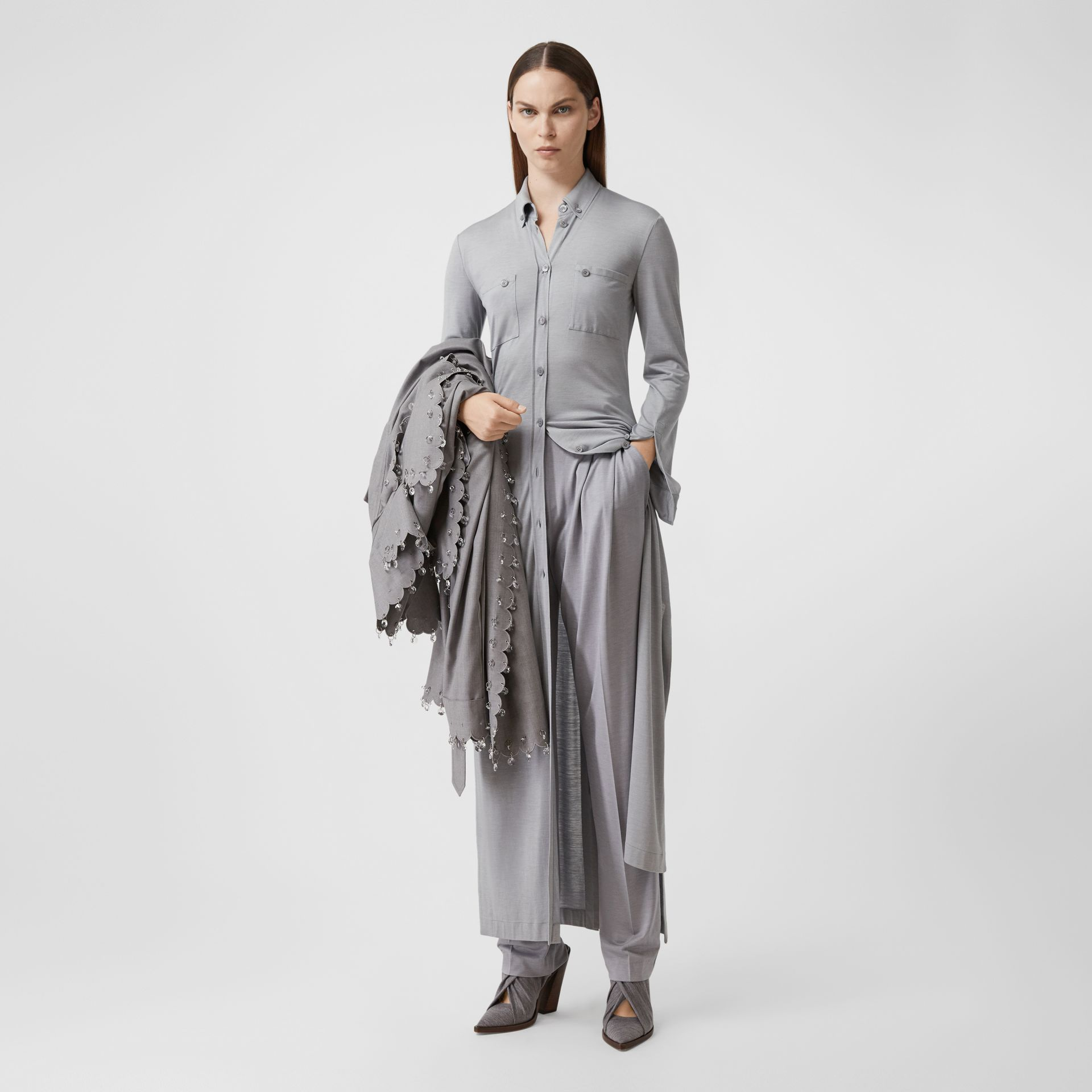 Side-slit Wool Silk Jersey Shirt Dress in Pewter Melange - Women | Burberry - gallery image 0