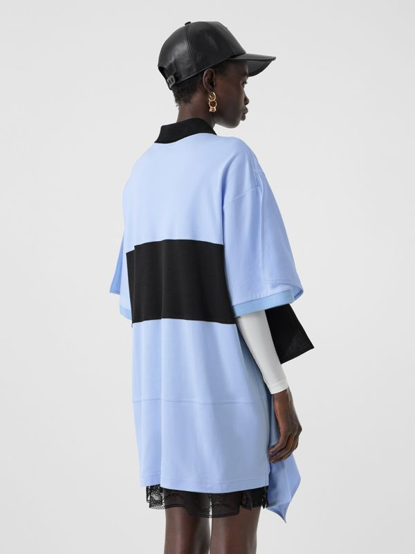 Drape Detail Striped Cotton Oversized Polo Shirt Dress in Baby Blue - Women | Burberry - cell image 2