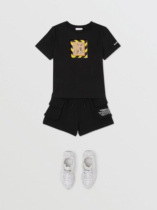 Deer Print Cotton T-shirt in Black   Burberry - cell image 3