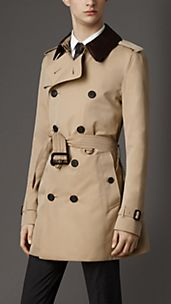 Mid-Length Python Collar Gabardine Trench Coat