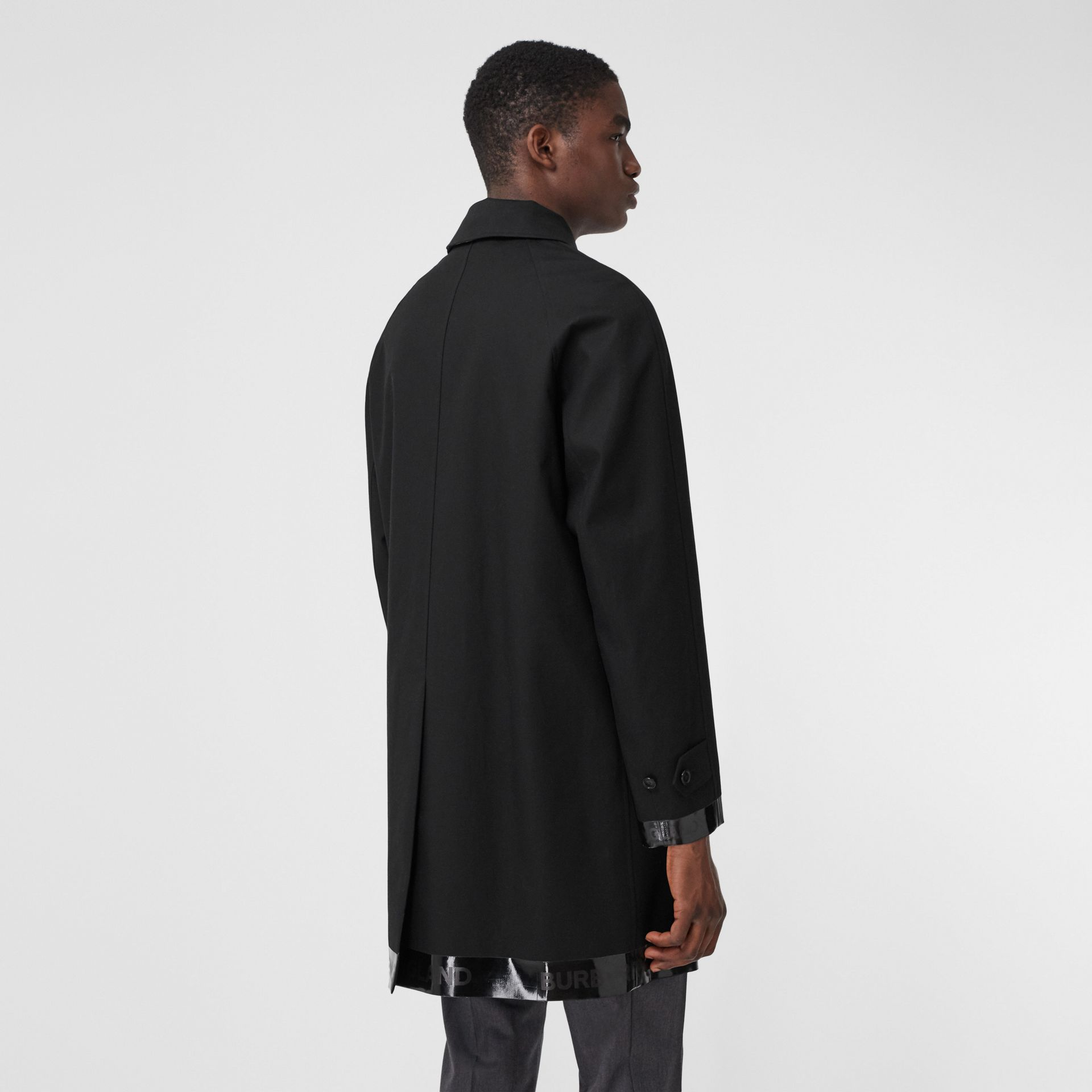 Logo Tape Cotton Car Coat in Black - Men | Burberry - gallery image 2