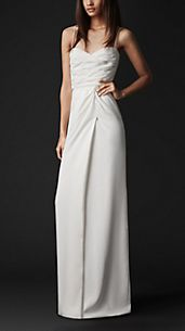 Floor-Length Pleated Bustier Dress