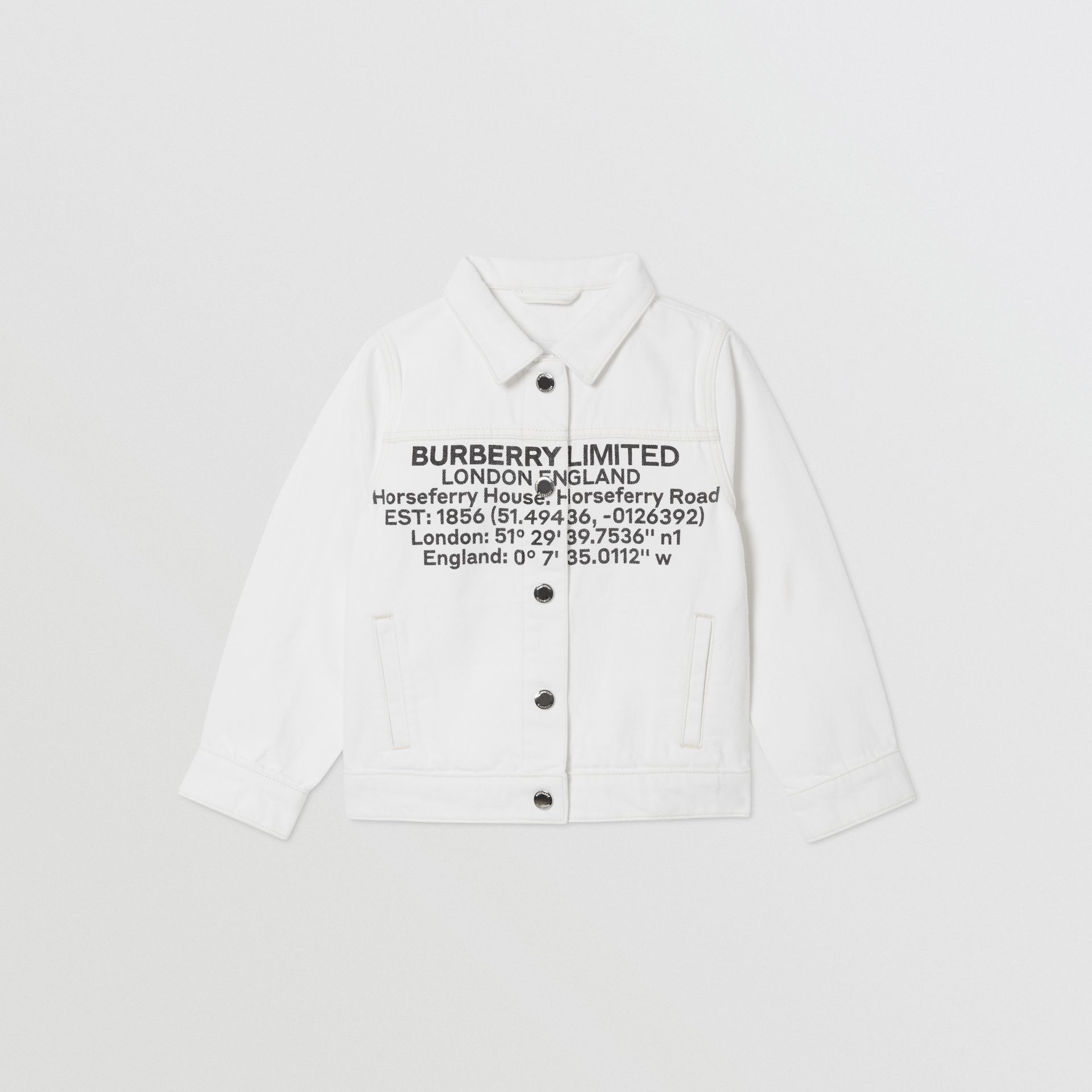 Location Print Japanese Denim Jacket in Natural White | Burberry - gallery image 0