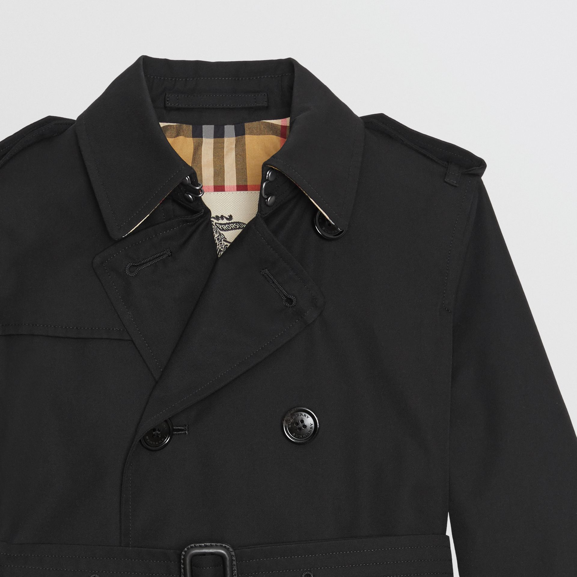 Cotton Gabardine Trench Coat in Black | Burberry - gallery image 3