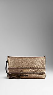 Grainy Leather Folding Wristlet