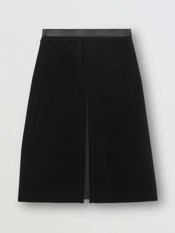 Lambskin Trim Box Pleat Detail Velvet and Wool Skirt in Black - Women | Burberry - cell image 3