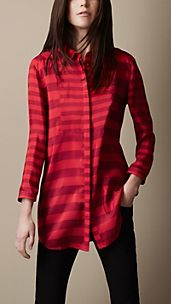 Striped Silk Bib Detail Shirt