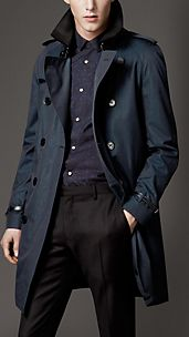 Mid-Length Cotton Gabardine Leather Trim Trench Coat