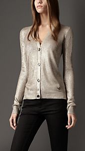 Metallic Silk Cardigan