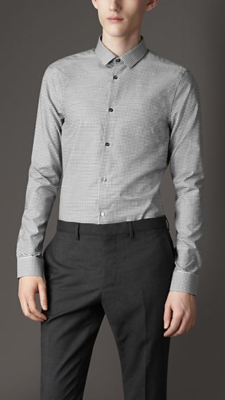 Slim Fit Cotton Gingham Shirt