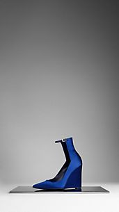 High-Cuff Satin Wedge Pumps