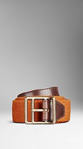 Leather Detail Webbed Belt
