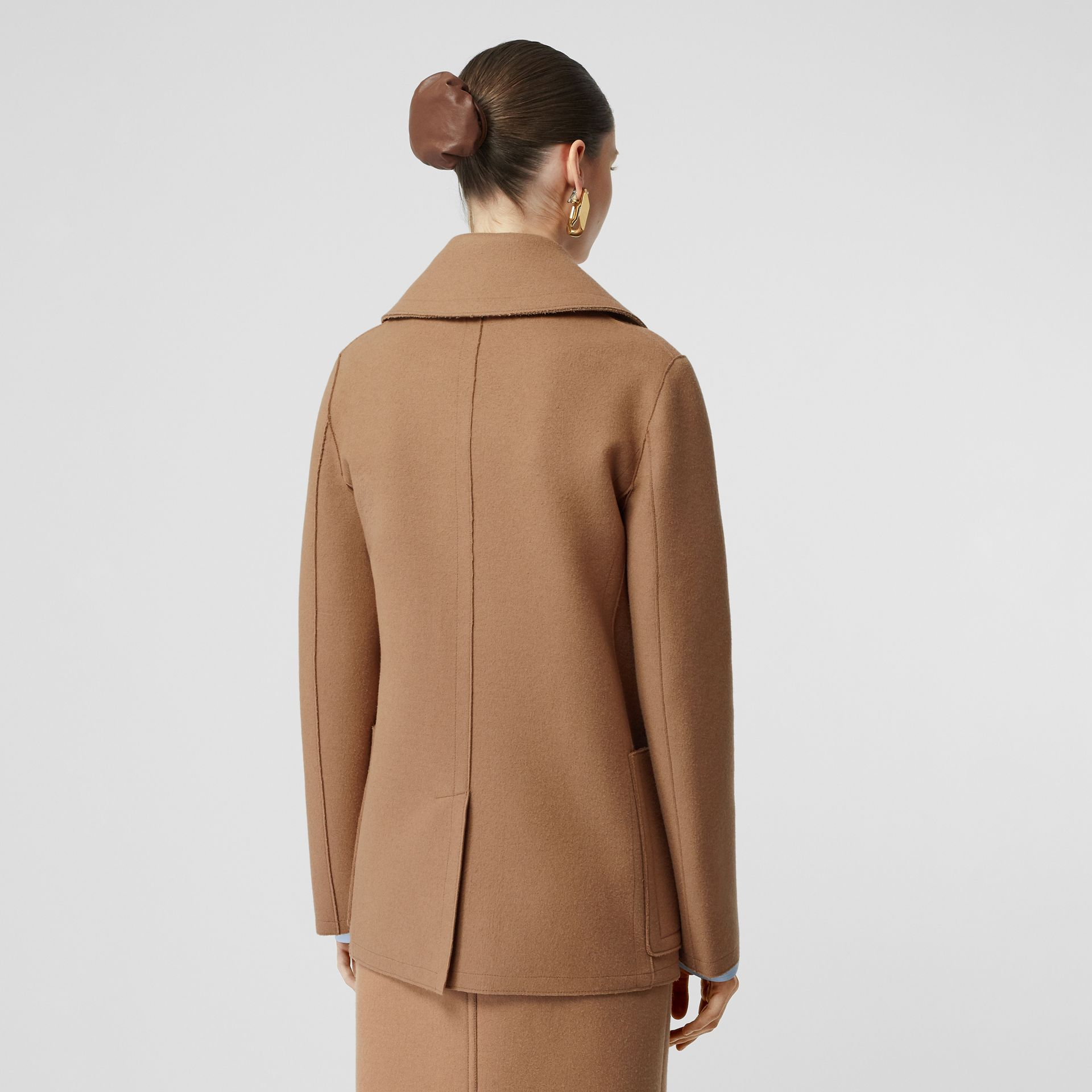 Button Panel Detail Wool Cashmere Pea Coat in Camel - Women | Burberry - gallery image 2